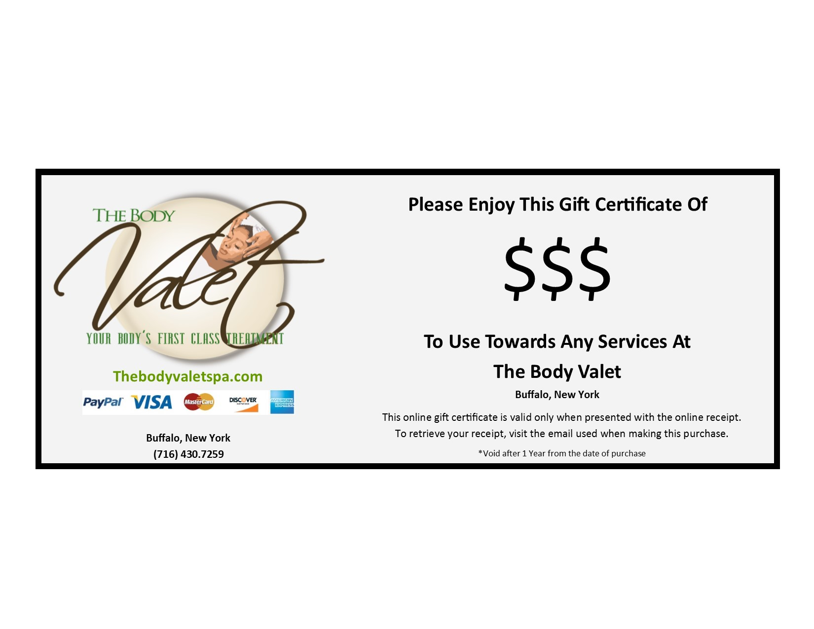 Body Valet Gift Certificate The Body Valet